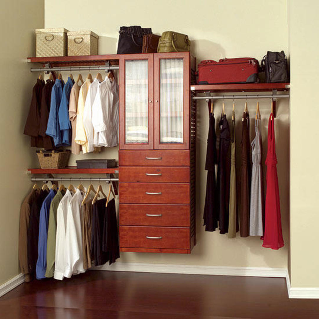 Closet with fabric clothing