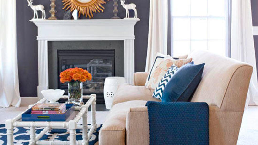 Fireplace with one loveseat