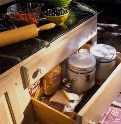 Under-Counter Storage Drawers with Baking Goods
