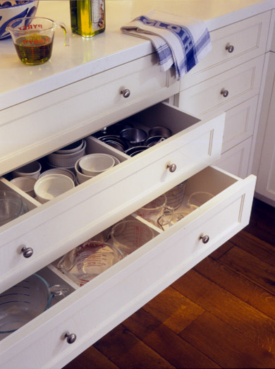 White Drawers with Specialized Storage Compartments