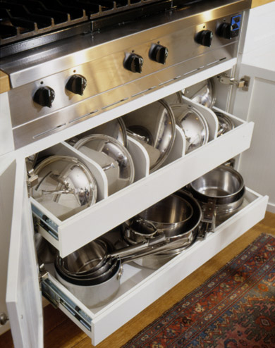 Under-Stove Storage Drawers with Cookware