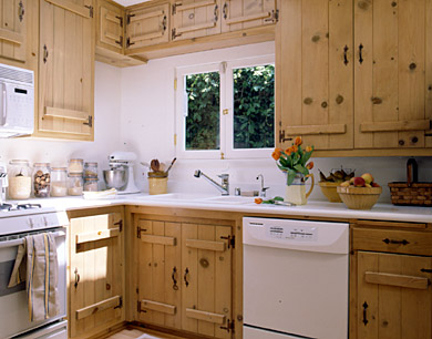 Kitchen with Bleached Knotty Pine Cabinets