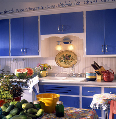Kitchen with Cobalt Blue Cabinets