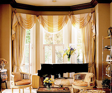tall striped curtains with over grand piano