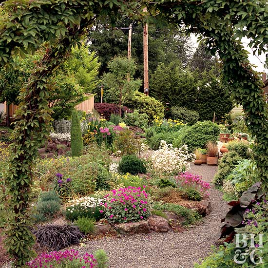 textured garden with pathway and arch