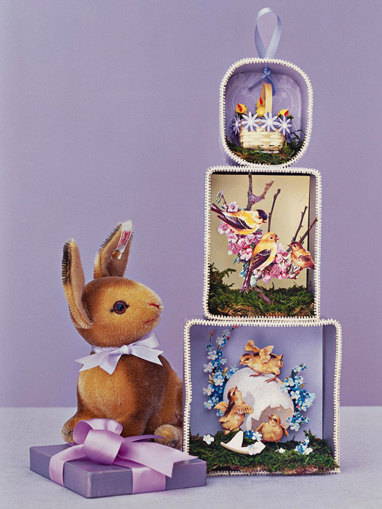 Easter_Stacked decorative scenes and bunny