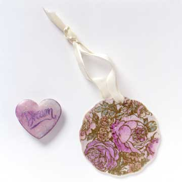 flower and heart porcelain ornaments