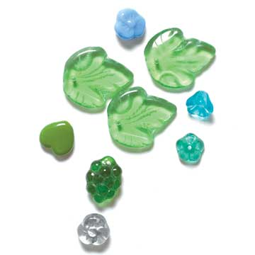 Leaf and Flower Glass Beads