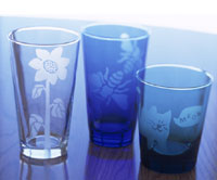 Spring Motif - etched glasses