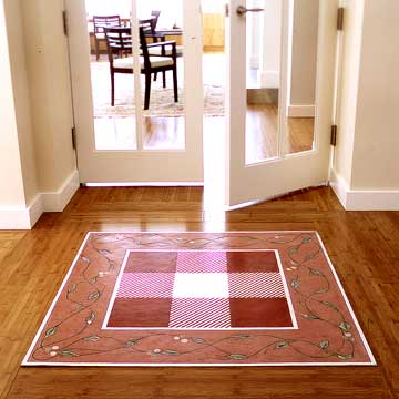 BHGMay05_ShowKitchen_BHG Checkered Rug In Entryway