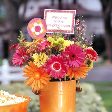 Welcome Flowers In Orange Pail