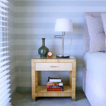 04HDT-Pale Blue Striped Walls with Rattan Nightstand
