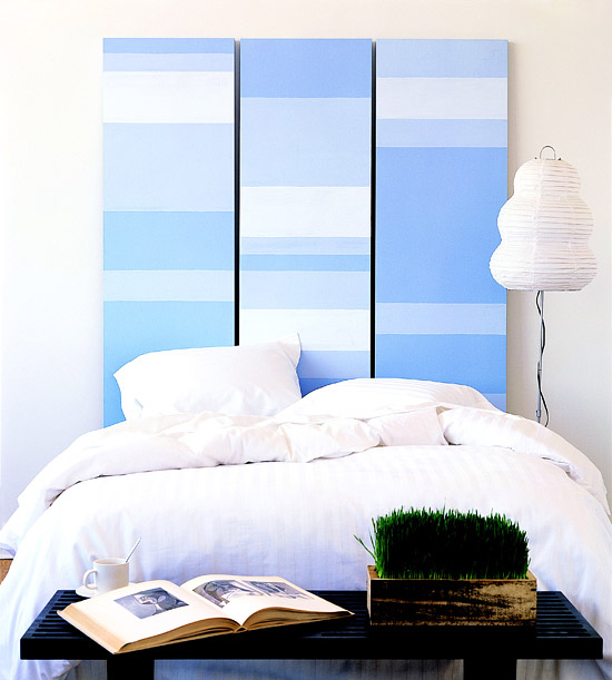 Finished Blue and White Stripes headboard