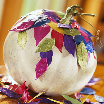 White Pumpkin With Colored Spray Painted Leaves