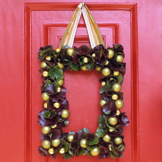 Rectangle Christmas Ball Wreath Against Red Door
