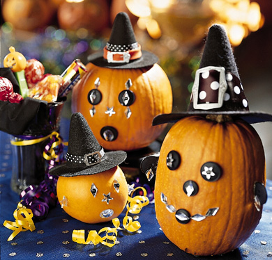 Decorated Halloween Party Pumpkins