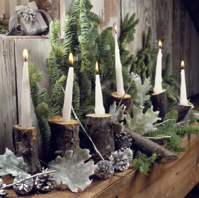 Hand Made Candles in Log Candleholders