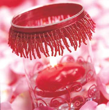 red beaded jar