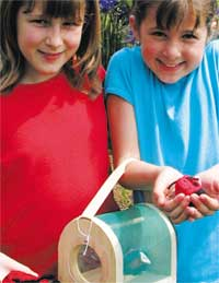 Two girls with bug box