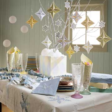 hanging snowflakes and stars