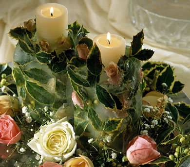 Pretty Paradox: Roses, Holly and Candle in Ice