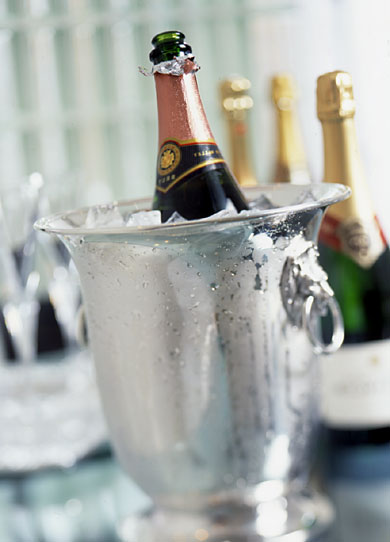 Champagen in Silver Ice Bucket