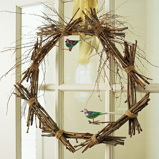 Twig wreath with miniature birds