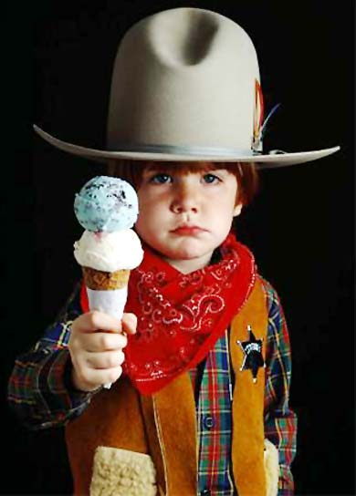 Little Cowboy with ice cream cone