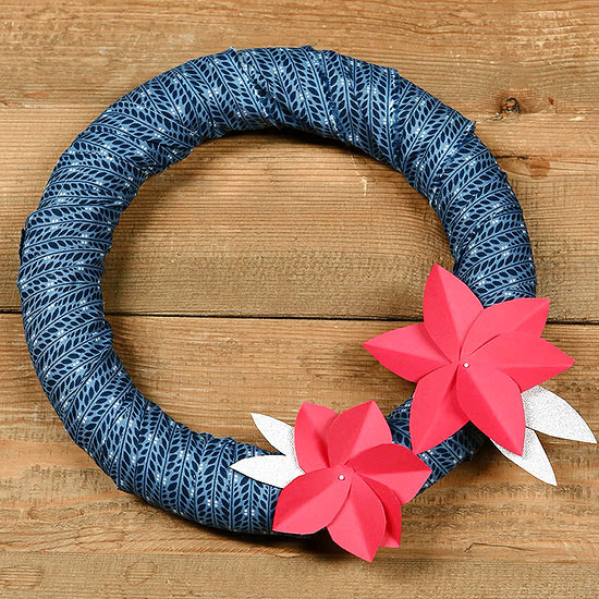 Fabric Wreath with Paper Flowers