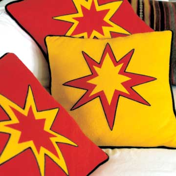 red and yellow star pillows