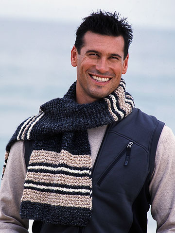 man in blue stripped scarf