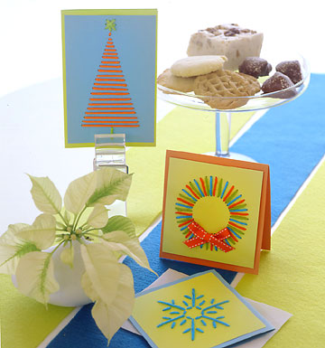 Yarn sewn Christmas cards craft