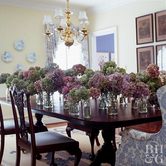 Hydrangea bouquets on table