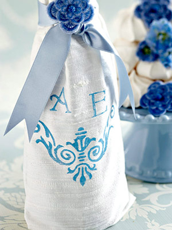 Blue Decorations, Wine Bottle Cover with Monogram
