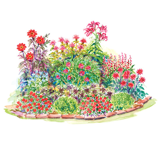 Red-Theme Garden Plan Illustration