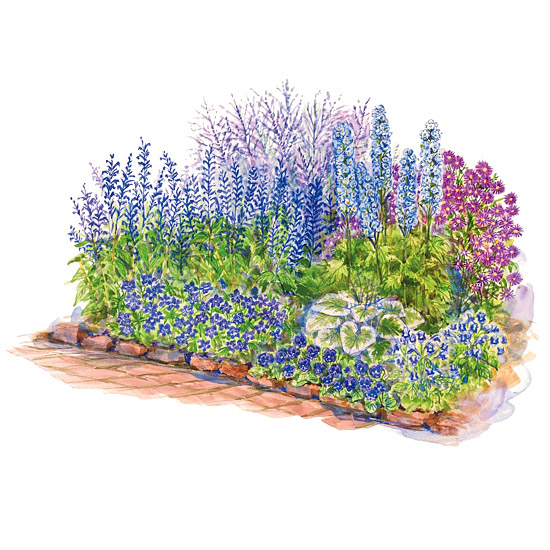 Blue-Theme Garden Plan Illustration