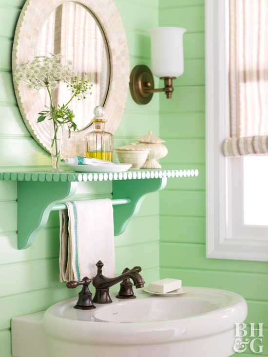 mint green bathroom vanity and shelf