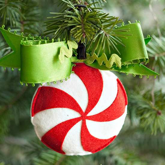 Peppermint felt ornament