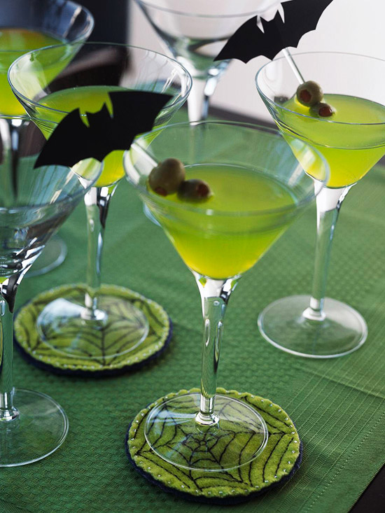 4 martini glasses with bat toothpick