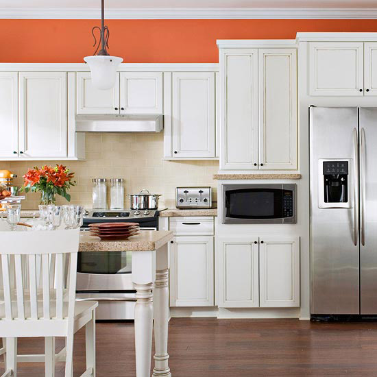 Sherbet Orange + White Kitchen