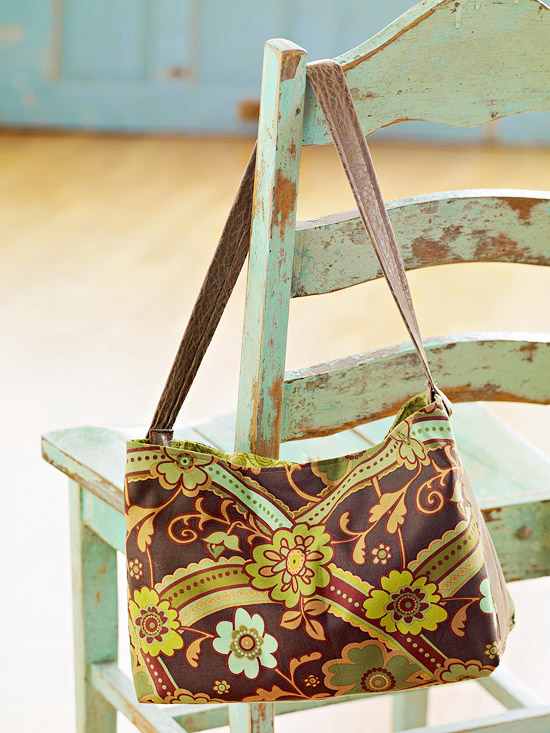 brown and green shoulder bag