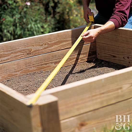 squaring off raised garden bed