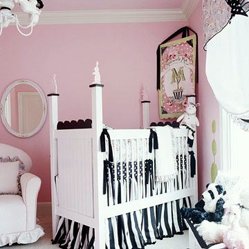 pink, black, and white nursery