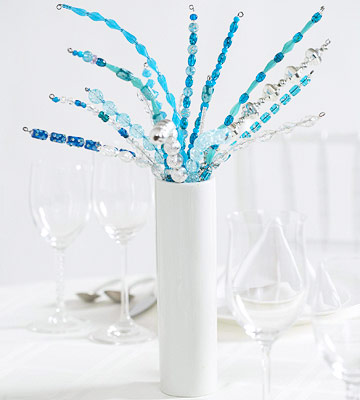 Wedding centerpiece made from blue beads and wire