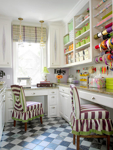 Full shot of craft room with violet and lime striped chairs and checkerboard flooring