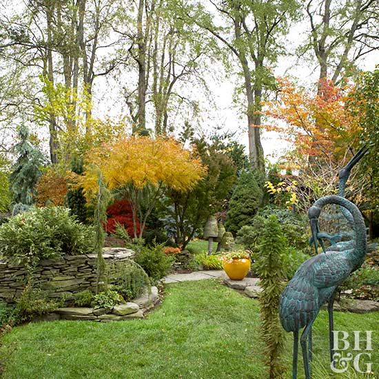 colorful fall garden with design elements