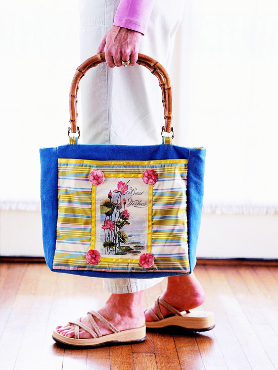 Embellished-pocket tote bag