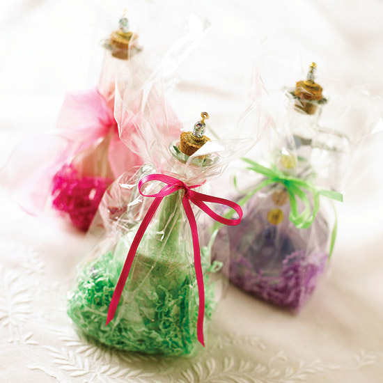 Three bath salt jars wrapped with bows