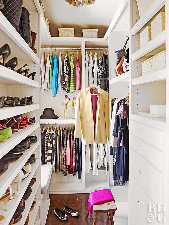 walk in closet organization better homes gardens. Black Bedroom Furniture Sets. Home Design Ideas