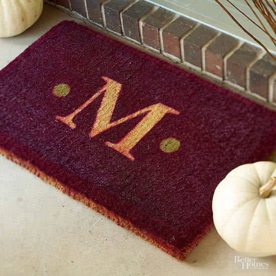 Monogrammed burgundy welcome mat